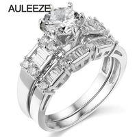 14 К 585 кольцо из белого золота с бриллиантами свадебный набор Обручение кольцо 1ct круглой огранки moissanites комплект роскошные Лаборатория Grown к