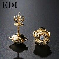 EDI из натуральной Diamond 14 К 585 Желтое золото Серьги гвоздики для Для женщин розы Ювелирные украшения