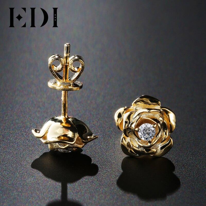 EDI genuino diamante natural 14 K 585 oro amarillo Pendientes de broche para las mujeres Rose flor Joyería fina