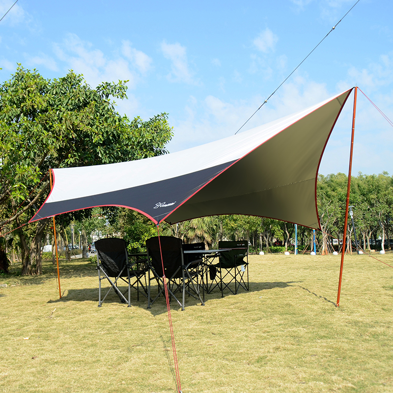 L size 6*5.5m & M size 5*4.7m aluminum & iron pole super large size new design silver coated tarp/gazebo/sun shade tent/awning