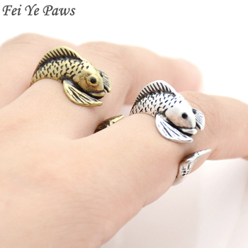 Rerto Style Boho Fish Ring Men Hippie Midi Finger Knuckle Fish Animal Rings For Women Girls Party Gift Jewelry Love Ring Anel