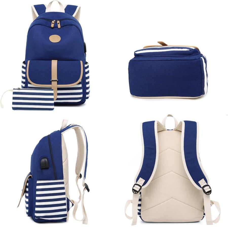 fdad83d00533 2 Sets USB School Bags For Teenager Girls Boys Backpack Laptop Bag For  Women 2019 Backpacks With Phone Bag Striped Print Bolsas
