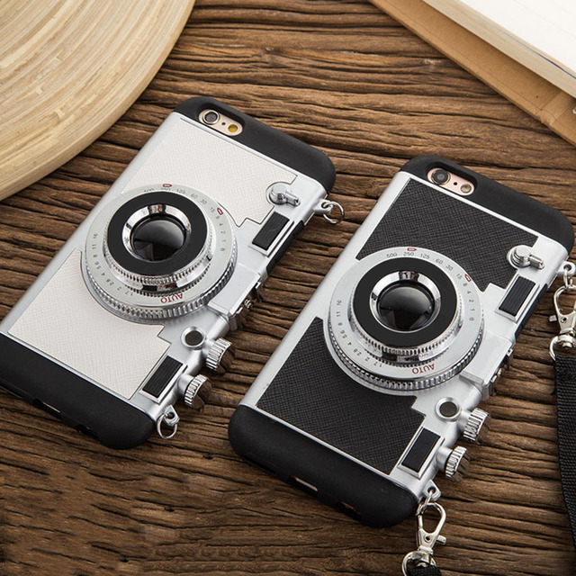 new concept 6b1e3 54de4 US $4.69 15% OFF|2019 New Fashion 3D Camera Phone Cases For iPhone 7 7 Plus  6 6s Plus Case Novel Soft Silicone Long Strap Rope Back Cover Lanyard-in ...