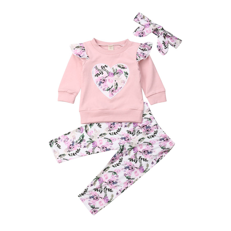 Toddler Girls Clothes 3Pcs Autumn Spring Outfits Infant Baby Girls Long Sleeve Tops Flower Pants Leggings Roupas Set