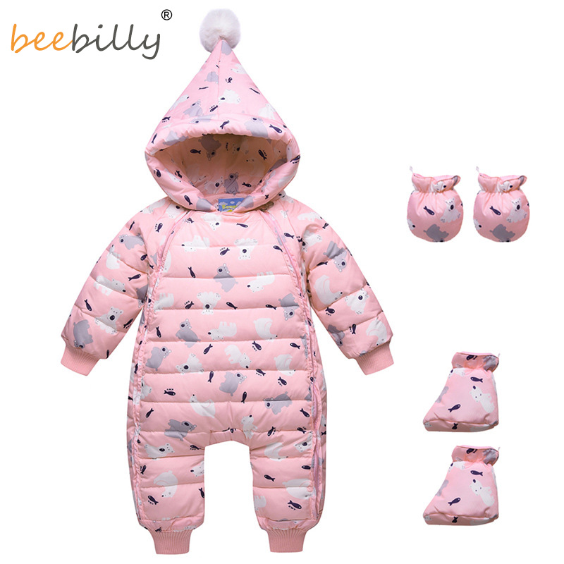 2018 hiver chaud bébé canard vers le bas barboteuses infantile garçon épais combinaison bébé fille Snowsuit enfant nouveau-né vêtements 3 pc barboteuse + gants + chaussures