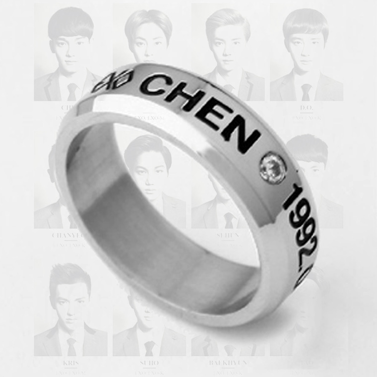 Kpop exo CHEN birthday date titanium steel ring tail ring anel uomo 8.5 size Send leather cord boxes k-pop exo men women Jewelry