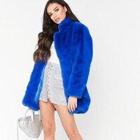 Женская свободная куртка из искусственного меха норки, флисовая куртка из искусственного лисьего меха, куртка-бомбер с воротником-стойкой, ...