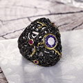 Purple Fashion Trend 2017 Large Black Gold plated Ring for Party Bezel Setting Bright Colorful Cubic Zirconia Women Rings