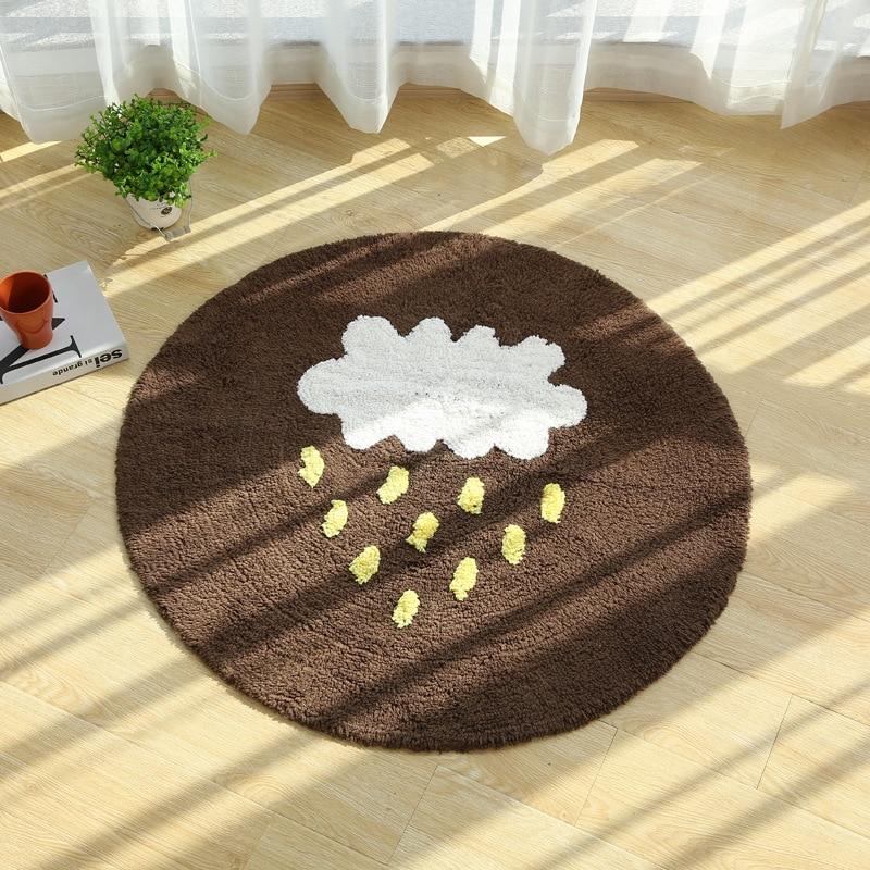 Tapis rond de cheval de nuage de 70/90/120/150mm pour la maison de salon tapis chaud de plancher de peluche tapis tapis de coton de chambre d'enfants tapis de salon