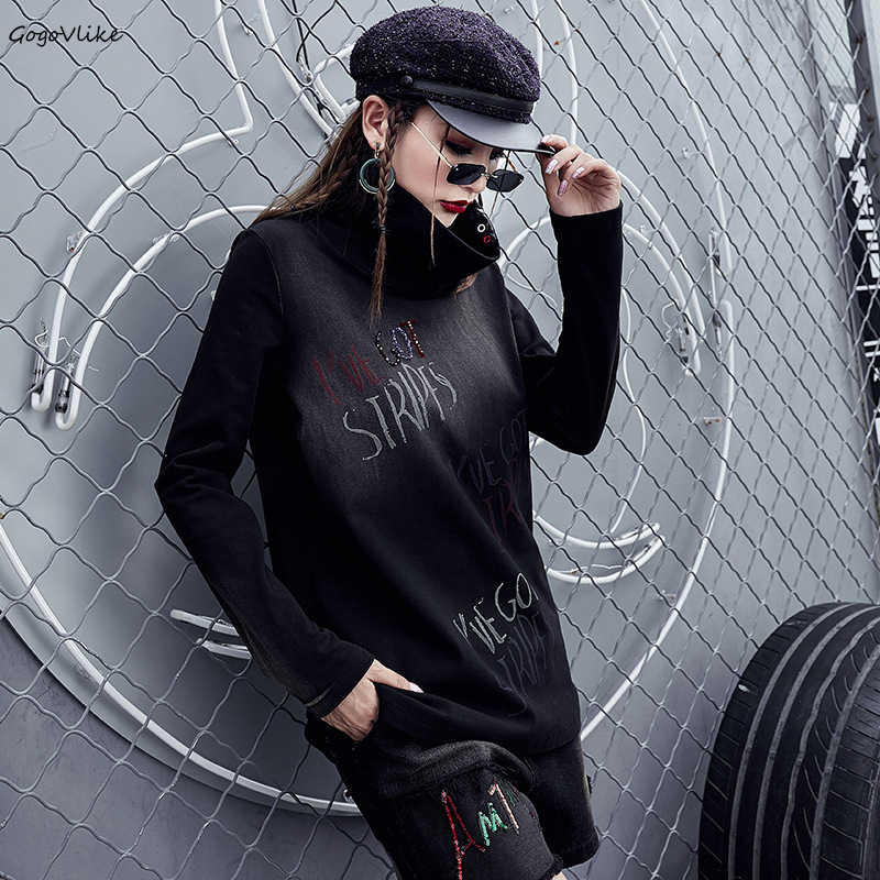 Женские винтажные футболки с высоким воротом LT216S50, зимние свободные топы с длинным рукавом, 2018