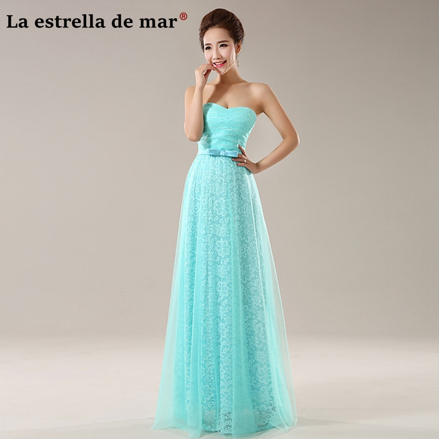 Vestidos madrinha de casamento new lace sexy No strap turquoise   bridesmaid     dress   long plus size wedding guests gown
