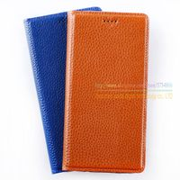 Lichee Pattern Natural Genuine Leather Magnet Stand Flip Cover For ZTE Nubia Z7 Z7 Mini Z7
