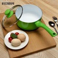 FREE SHIPPING Green 18cm Milk Pan Nonstick Noodles Pot Saucepan Cooking Utensil Kitchen Tool Ceramic Coating