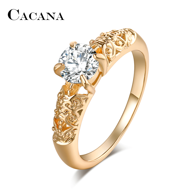 Cacana кубического циркония Кольца для Для женщин орнамент Мода цинковый сплав Кольца Jewelry бижутерия оптом без. R513