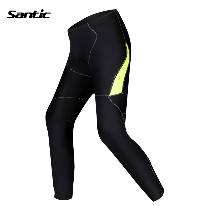 SANTIC Cycling Winter Autumn Warm Length Pants 3D Pad Windproof Tight Trousers MTB Bike Bicycle Outdoor Clothing MC04027 santic mens windproof outdoor sports bike bicycle running fitness ciclismo pants winproof sports trousers clothing m 3xl