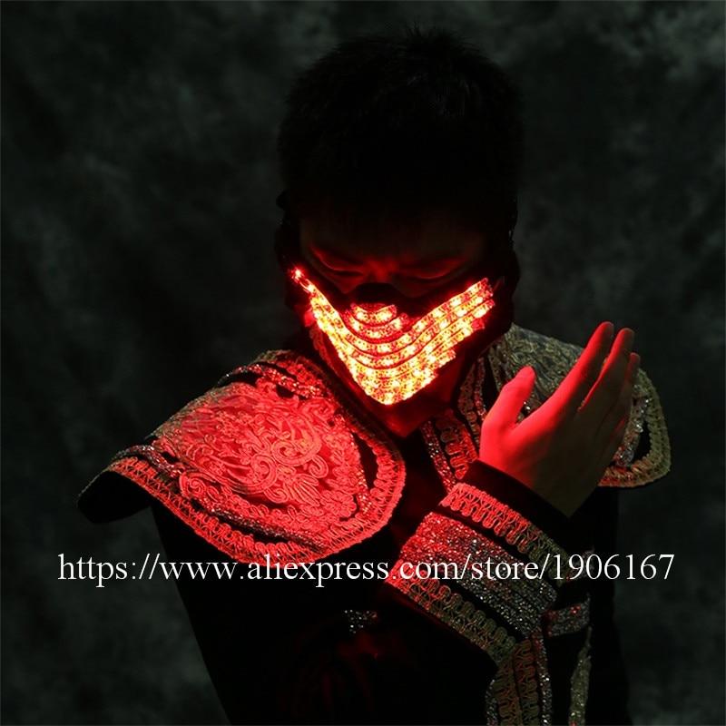 Colorful Led Luminous Mask Night Club Show Illuminate Flashing Halloween Masquerade Party Christmas Masks Performance Dancewear - 4