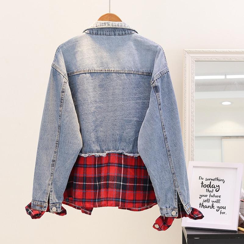 Denim Printemps Femelle Veste Plaid Irrégulière Pièce Nouveau De Faux Femmes rouge Lâche Et Étudiant Jeans Deux Manteau Automne Or Patchwork 2018 Outwear F5xvqw88