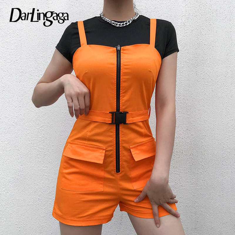 Darlingaga 2019 Summer Cargo Buckle Overalls Shorts Women Suspender Bright Orange Zipper High Waist Shorts Belt Short Bottom New