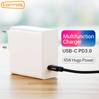 TORRAS 45W USB Type C PD Charger EU For iPhone 8 X Travel Wall Desktop Adapter PD Charger For Macbook Fast Charger Adapter
