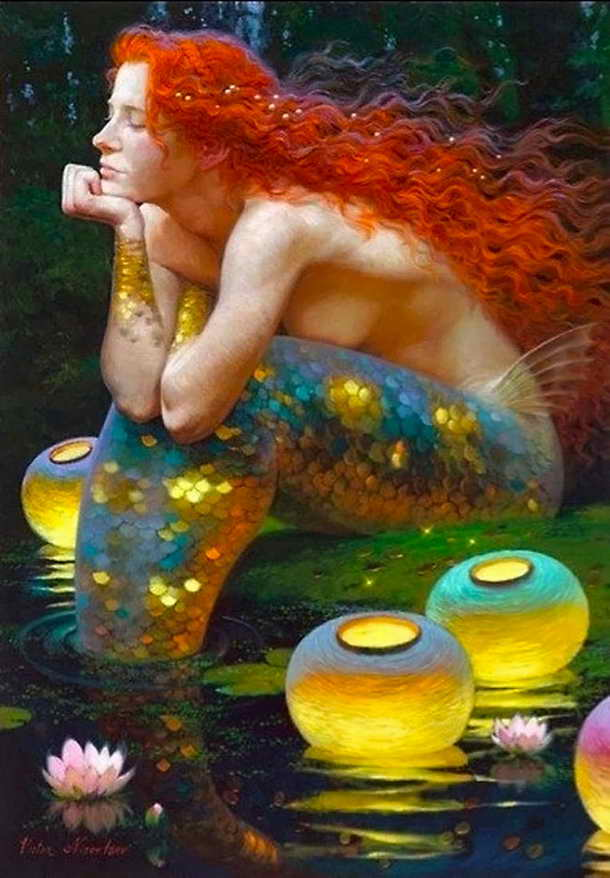 Modern Art Victor Nizovtsev Canvas Prints Oil Painting Little Mermaid Decorations Wall Picture Best Christmas Gift Vk39
