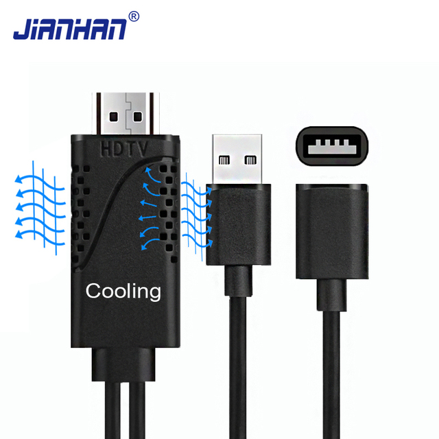 online store 837e2 7cb77 US $8.6 |JIANHAN HDMI Cable for iPhone 8 X 7 6s Plus iPad TV Android Phone  to HDTV Adapter Full HD 1080P USB HDMI Converter Cable Cooling-in HDMI ...