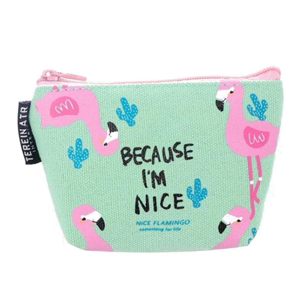 Cute Cartoon Flamingo Bird Kawaii Coin Purse Small Canvas Coin Bags for Women kids Girls Gift Casual Zipper Key Packet Wallet Y3