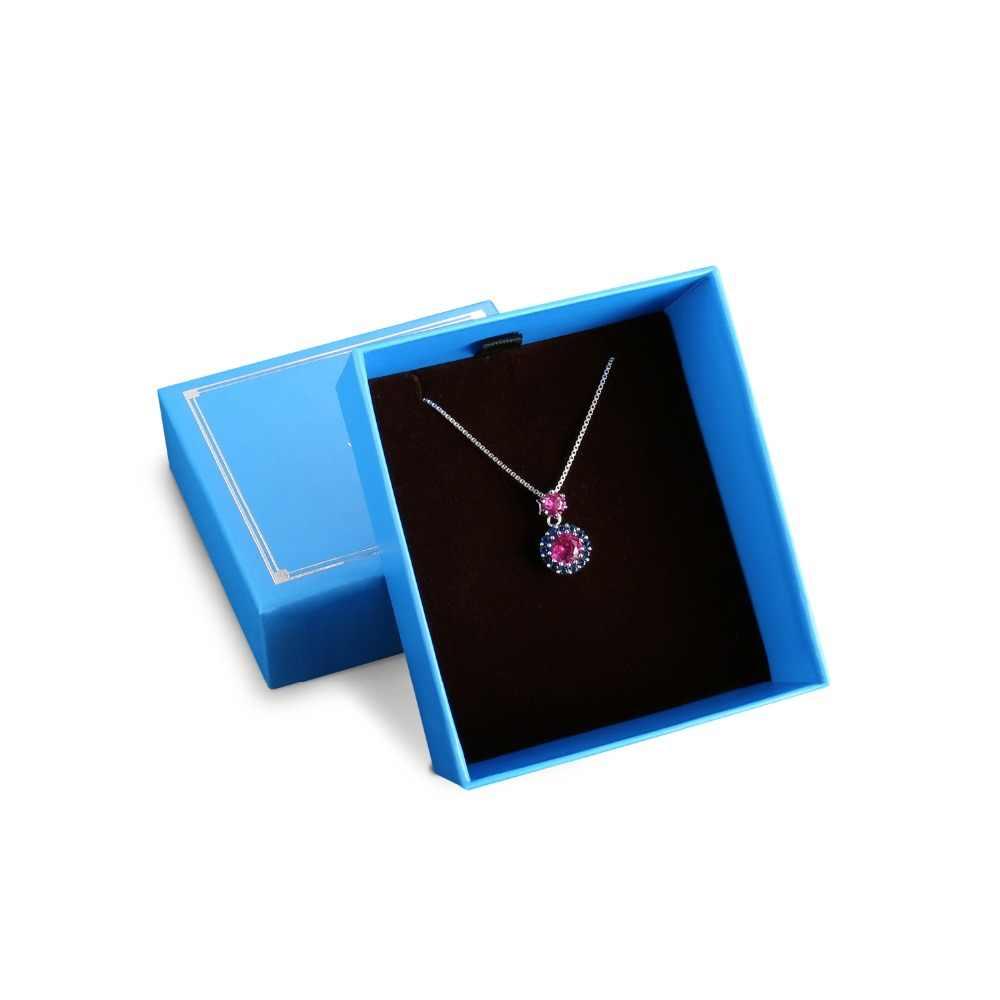 JewelryPalace คุณภาพสูงของขวัญกล่องแพคเกจกล่องสองรุ่น Blue แพคเกจกล่องกระดาษสำหรับของขวัญสร้อยคอจี้ขนาดใหญ่กล่อง