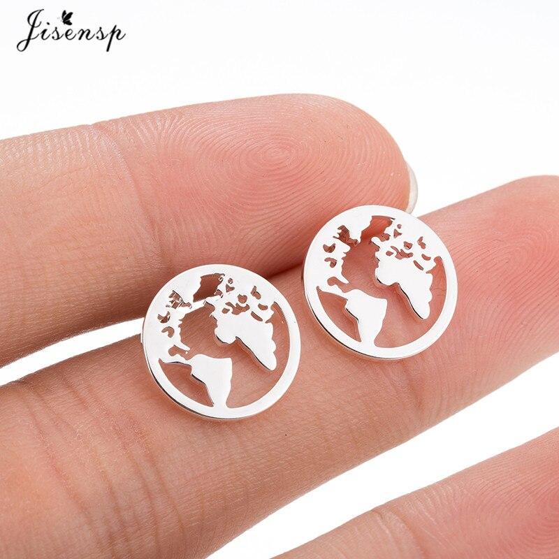 Женские серьги из нержавеющей стали Jisensp, подарочные круглые серьги-гвоздики в форме карты мира, подарочный набор украшений для ушей