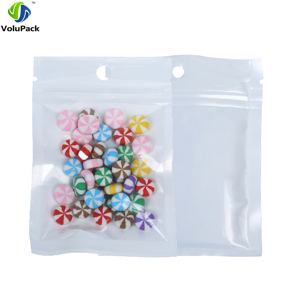 7.5x12cm (3x4.75) Hand hold poly Reclosable ziplock packaging bags, white clear retail plastic packing bag with zipper