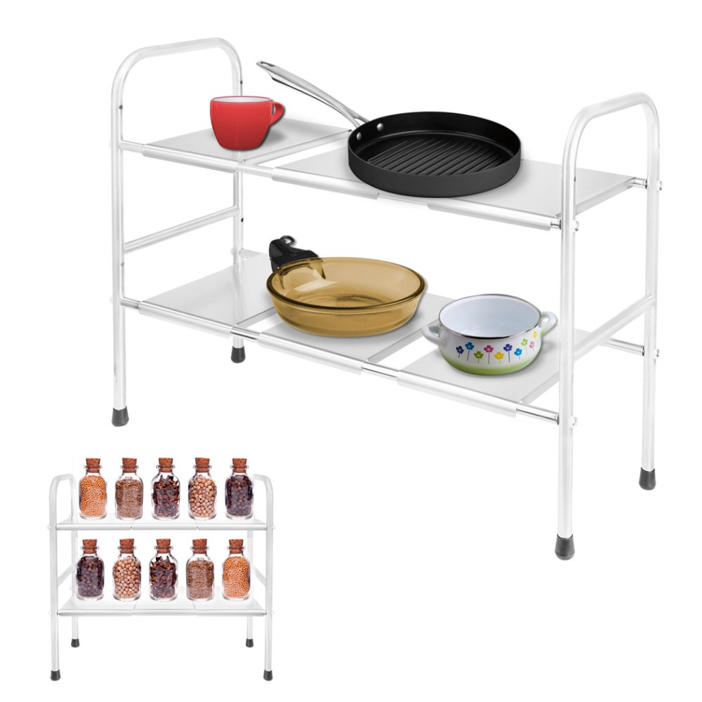 Homdox 2 tier kitchen organizer stainless steel expandable for Bathroom under sink storage