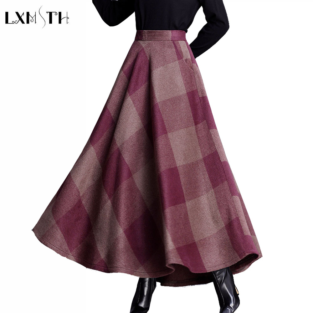 LXMSTH Autumn Long Plaid Woolen Skirt Women High Elastic Waist Skirt Plus Size Korean Logn Maxi Skirt With Pockets Loose Skirts