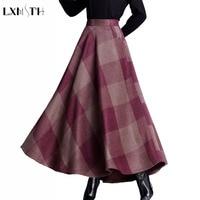 LXMSTH Autumn Long Plaid Woolen Skirt Women High Elastic Waist Skirt Plus Size Korean Logn Maxi Skirt With Pockets Loose Skirts