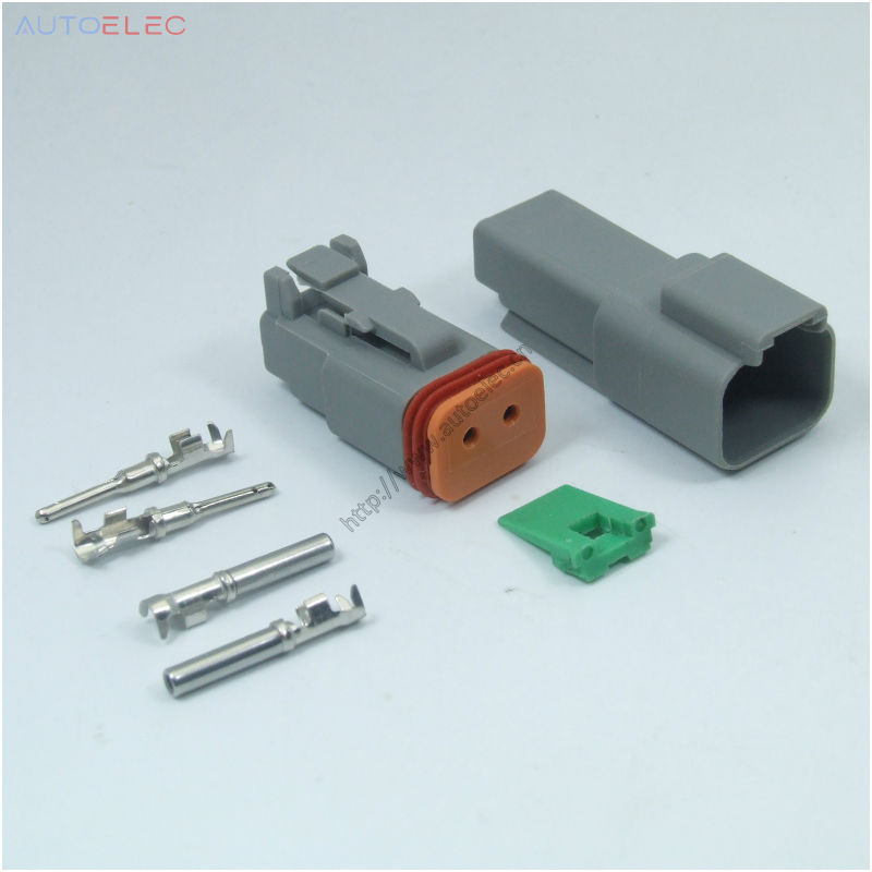 100Sets 2Pin AT04 2P Amphenol DT 2 Deutsch DT GRAY connector 1060 16 ...