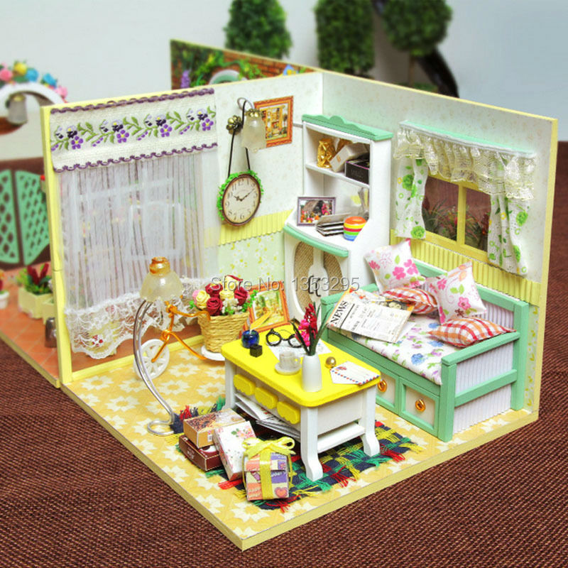 Diy Wooden Miniature Doll House Living Room Furniture Toy Miniatura Model Dollhouse Creative