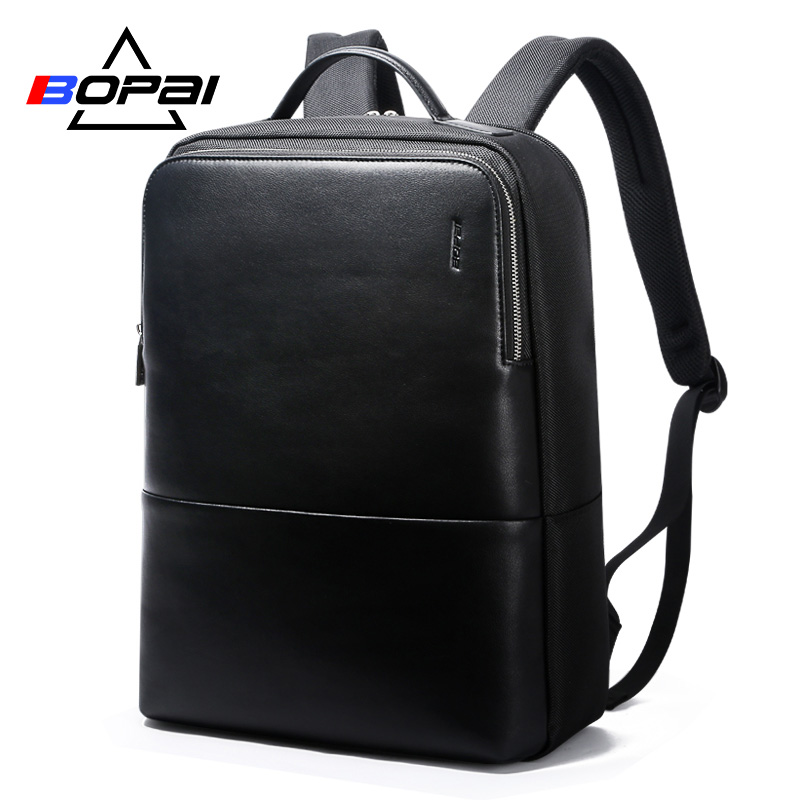 2018 BOPAI Cool Mens Backpacks Man Rucksack 14 Inch Laptop Bag Student Schoolbags Men Travel Leather Backpack Bags Black bagpack cool men travel backpack men elephant animal bags 15 6 inch laptop computer bag fashion black gold silver rivet leather bags