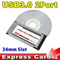 2016 PCI Express Card Expresscard to USB 3.0 2 Port Adapter 34 mm Express Card Converter