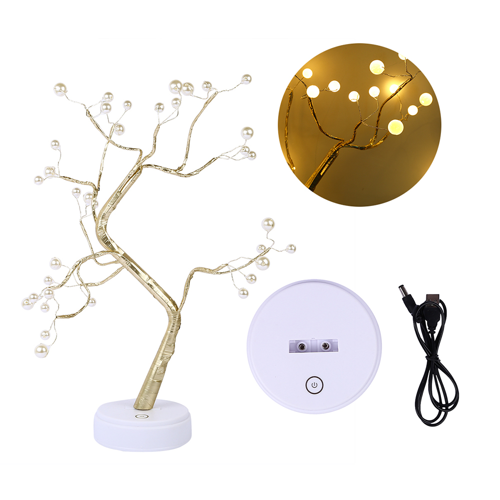 Night Light Tree Light Touch Switch LED Tabletop Tree Light LED Imitation Pearls Tree Light USB Battery Operated LED in LED Night Lights from Lights Lighting