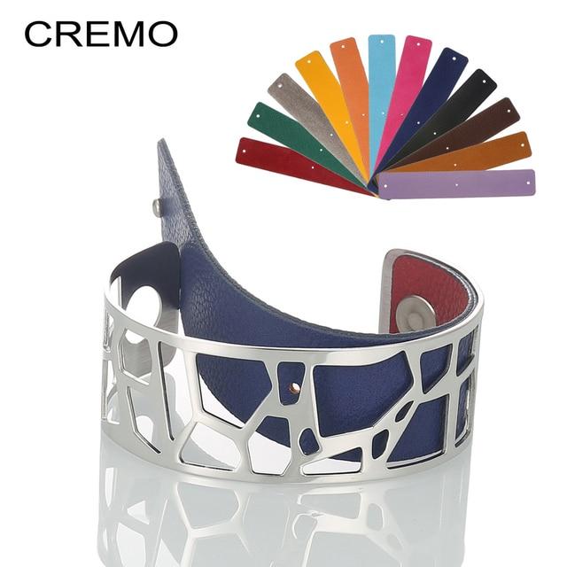 Cremo Giraffe Bangles Dainty Bracelets Argent Femme Manchette Cuff Stainless Steel Bracelet Reversible Interchangeable Pulseiras