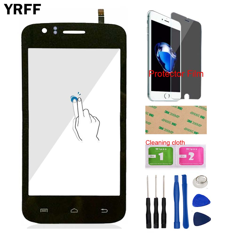 YRFF 4.0 TouchGalss Front Touch Screen Touch Digitizer Panel Glass For Explay Atom Lens Sensor Tools + Protector Film Adhesive