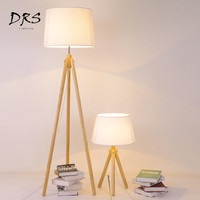 Nordic Wooden Floor Lamps Wood Fabric Lampshade Tripod Floor Lamps for Living Room Bedroom Indoor Home Lighting Modern Fixture