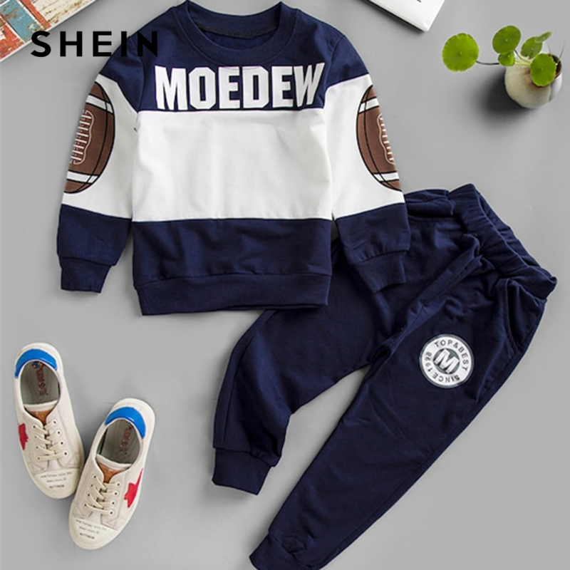 SHEIN Kiddie Letter Print Sweatshirt With Tapered Pants Boys Two Piece Set 2019 Spring Long Sleeve Casual Suit Set For Children feather print sweatshirt