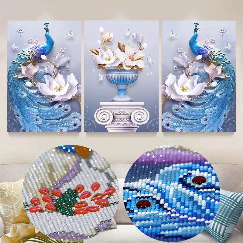 Pittura diamante 5d trapano pieno rotondo, diamand pittura complet, diamante mosaico, soggiorno decorazione, diamante ricamo, pavoni