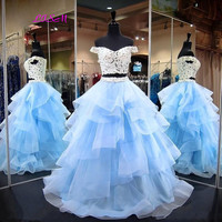 2019 Light Blue Ball Gown Two Pieces Prom Dresses Lace Cap Sleeve Ruffles Organza Formal Dresses Sweet 16 Long Quinceanera Dress