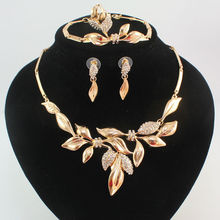 Fashion Africa Dubai Wedding  Gold Plated Crystal Leaves Rhinestone Necklace Earrings Bracelet Ring Jewelry Set