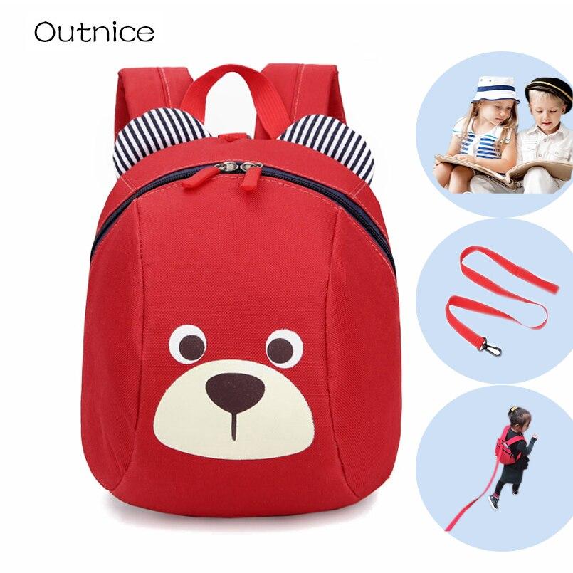 Anti-lost kids baby bag children small toddler backpack cartoon printed mochila escolar fonksiyonlu rende