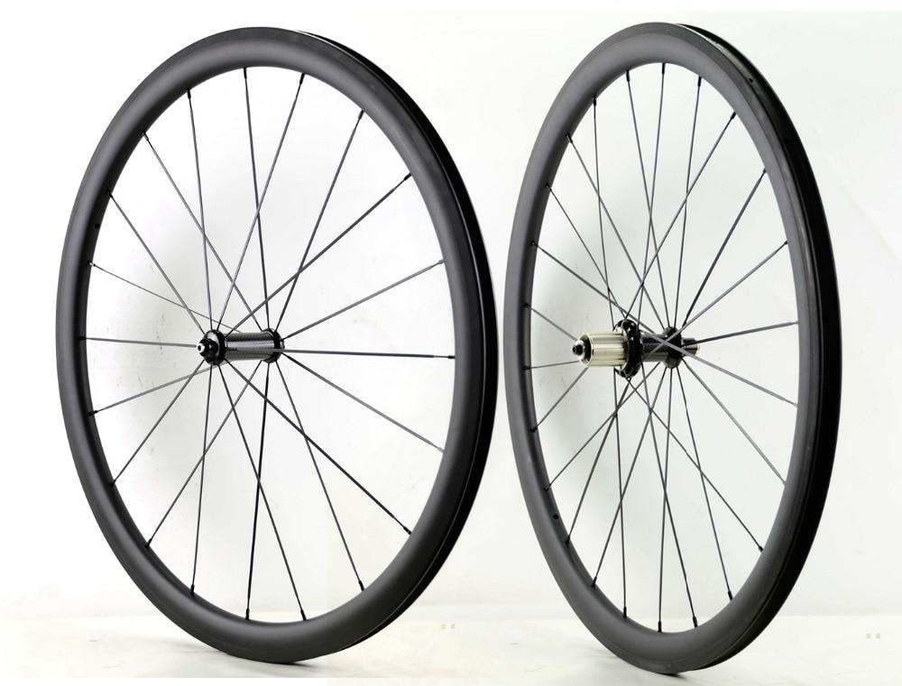 Freeshipping 700C 38mm depth Road carbon wheels 23mm width bike clincher/tubular carbon fiber wheelset with powerway  R36 hub стоимость