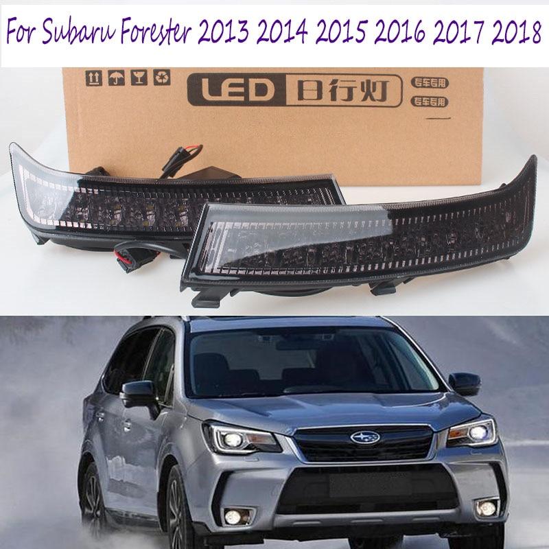 2Pcs DRL LED Daylight Fog Lamp For Subaru Forester 2013 2014 2015 2016 2017 2018 LED