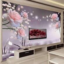 Пользовательские 3d фото обои самоклеющиеся Красивые Розовые
