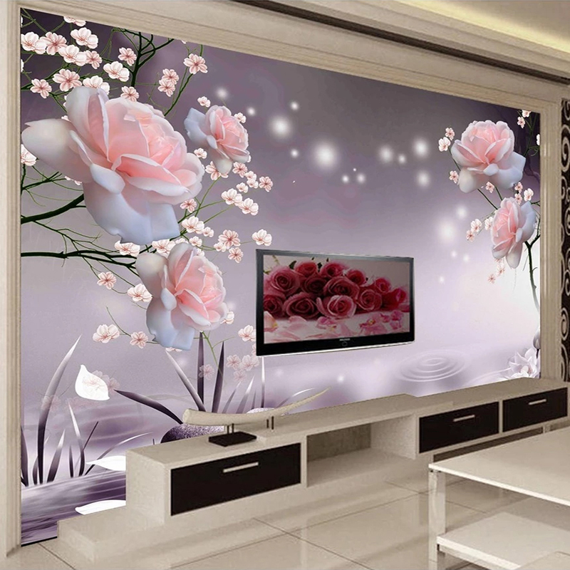 Custom 3D Photo Wallpaper Self-adhesive Beautiful Pink Rose Flowers Modern Living Room Sofa TV Background Wall Sticker Mural 3D
