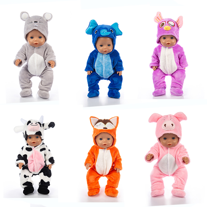 2019 New Animal jumpsuits+shoes Fit 17 inch 43cm RompersDoll Clothes Born Baby Doll Clothes Suit For Baby Birthday Festival Gift image